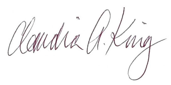Signature of Claudia King, Political Team Chair at Sierra Club Maine